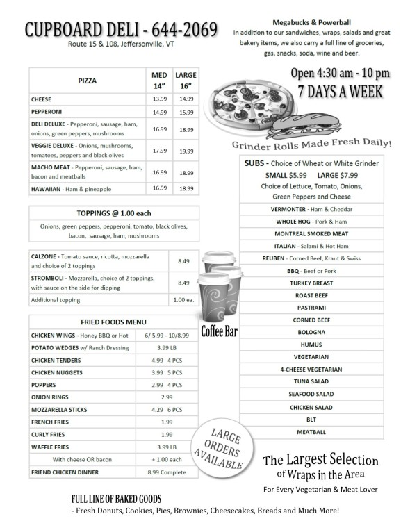 CUPBOARD DELI MENU - 2019